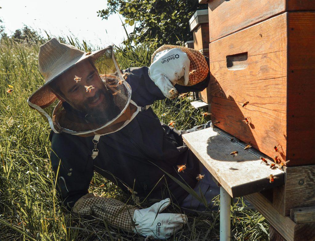 imker met bijen