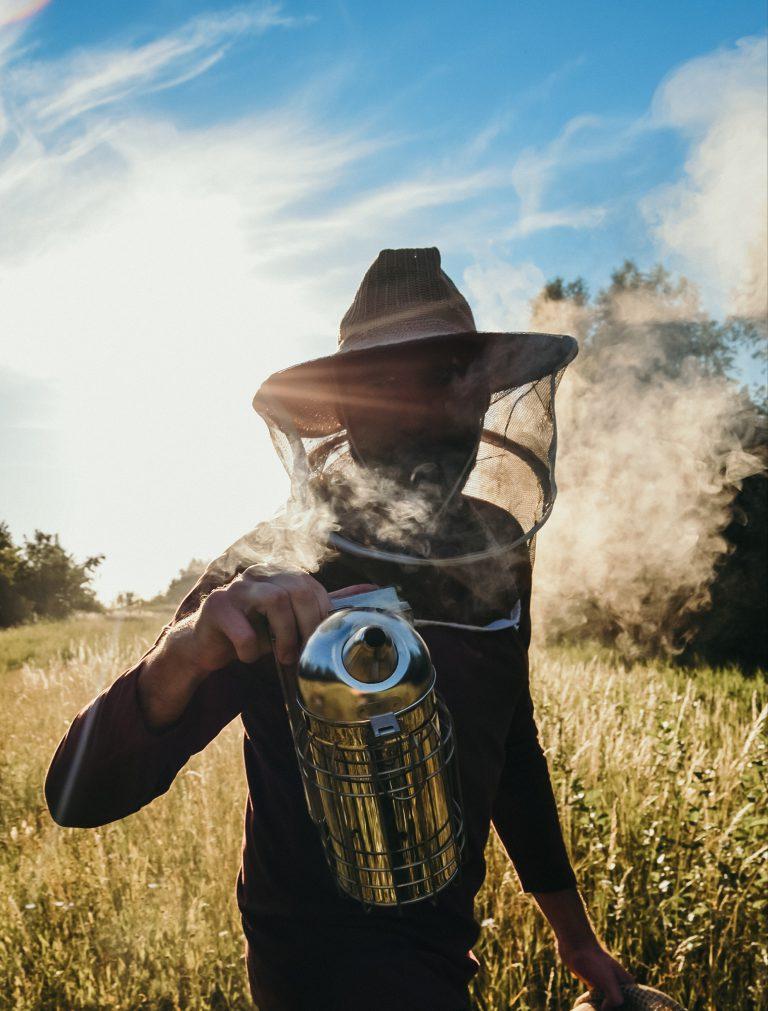 imker; beroker; rook; veld; landschap; zomer